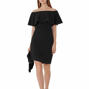 NWT Reiss Balm Off-The-Shoulder Bardot Dress Black